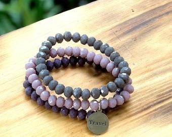 Intent Bracelet- Custom Word Bracelet- Stacking Bracelets- Set of 3 -Custom Charm Bracelet- Personlized Jewelry - Word Jewelry- Travel