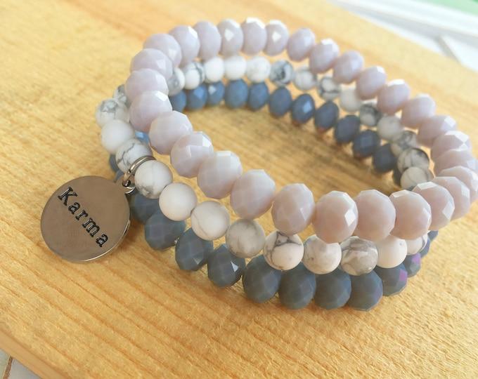Karma charm- Intent Bracelet- Custom Word Bracelet- Stacking Bracelets- Set of 3 -Custom Charm Bracelet- Personlized Jewelry - Word Jewelry