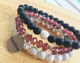 Customize Your Charm Bracelet- Choose Your Word Bracelet - Beaded Stacking Bracelets- Set of 3 -Custom bracelet- Personlized  -Inspirational