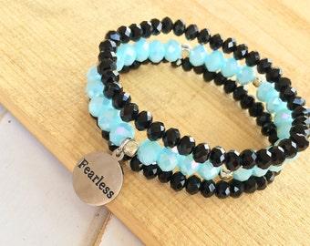 Beaded Stacking Bracelets - Set of 3 - Customize Your Charm Bracelet- Choose Your Word Bracelet - Custom bracelet-Personlized -Inspirational