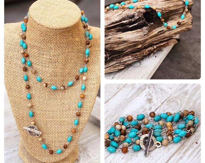 Long Layering Necklace Convertible  Necklace boho bead wrap bracelet layered necklace long beaded necklace bobo beaded wrap bracelet