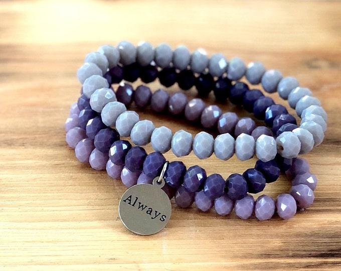 Stacking Bracelets-Custom Word Bracelet- Intent Bracelet- Set of 3 -Custom Charm Bracelet- Personlized Jewelry -Always- Word Jewelry