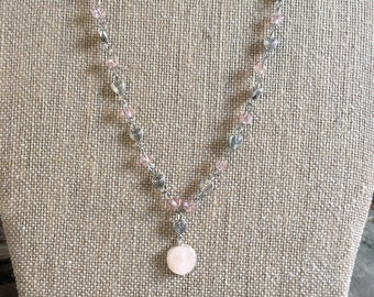 Druzy  Necklace on Wire Wrapped Heart Chain / Heart Jewerly / Heart Bling / Fun Girls Necklace