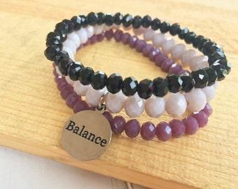 Customize Your Charm Bracelet- Choose Your Word Bracelet - Beaded Stacking Bracelets- Set of 3 -Custom bracelet- Personlized - Inspirational