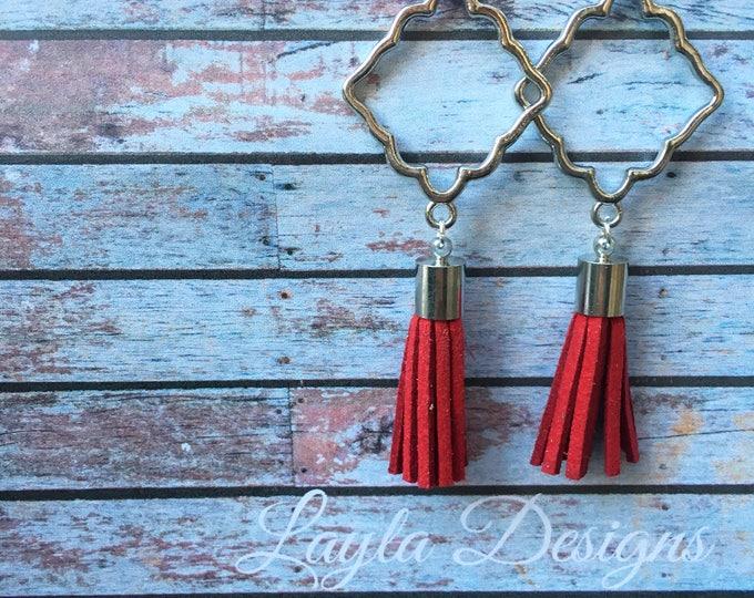 Silver Tassel Earrings, Tassel suede earrings, Tassel Drop Earrings, tassel earrings, drop silver earrings, Modern geometric earrings