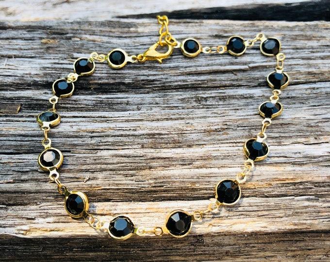 Black beaded Anket/ Beaded Anklet/ Anklet/ Dainty Anklet/ Delicate Anklet/ Beach anklet/ Silver Anklet/ Thin Anklet/ Gold Anklet