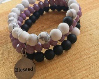 Choose Your Word Bracelet - Beaded Stacking Bracelets- Set of 3 -Customize Your Charm Bracelet- Custom bracelet- Personlized  -Inspirational
