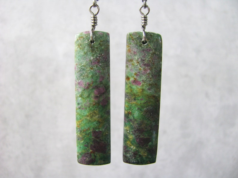 Hypoallergenic Stainless Steel Lever Back Ear Wire Ruby Fuchsite Stone Rectangle Slab Titanium Wire Wrapped Earrings Long