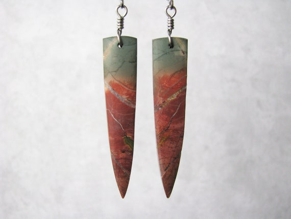 Lange Red Creek Jaspis Dolch Spike Platte baumeln | Etsy