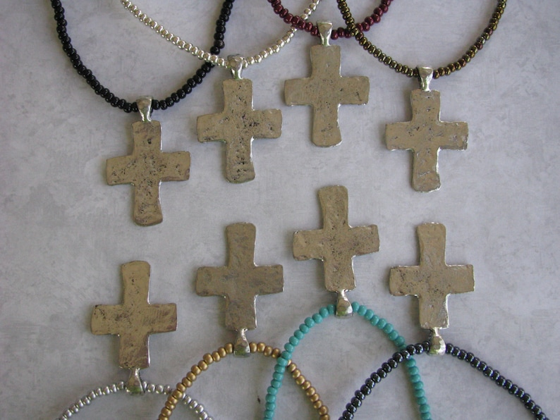 Elastic Large Hammered Cross with Bail Antique Silver Pewter Charm Rustic Assorted Colors Available Czech Seed Bead Necklace