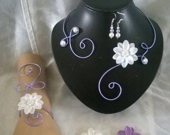 bridal set wedding purple aluminum wire jewelry set / lilac flower in white satin / purple wedding ceremonies, parties
