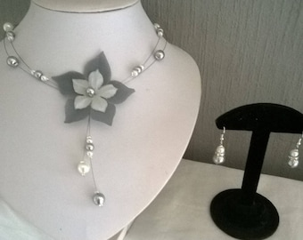bridal set wedding flower silk grey and white (or ivory), necklace and earrings, gray/white Rhinestones, customizable