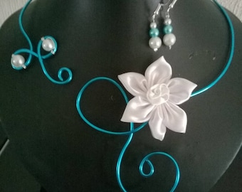 set 4 piece bridal wedding party White Pearl satin flower turquoise blue aluminum wire ceremony witness bridesmaid