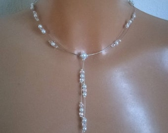 Bridal necklace white or ivory pearls / clear Crystal, made to order and personalized wedding party