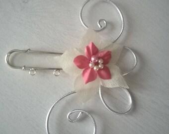 back train, train, ivory scarf clip brooch clip / powder pink wedding bridal evening party