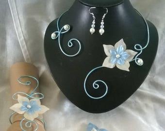 jewelry set bridal wedding light blue aluminum wire set ivory silk flower / blue wedding ceremonies, parties
