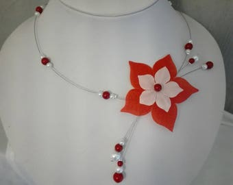 Bridal necklace wedding party holiday ceremony beads red and white silk flower Pearl