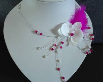 bride wedding necklace Fuchsia beads holiday / white Orchid feather evening ceremony
