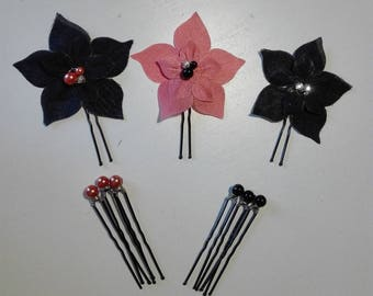 set of 9 pins pins hair accessories silk flower hair coral clouded beads wedding bridal evening party