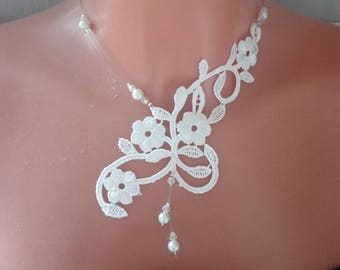 Bridal lace necklace, Burgundy Red or white pearls / transparent wedding ceremonies, parties