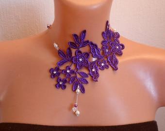 Necklace bridal wedding lace, pearls, plum / purple / ivory / transparent wedding ceremonies, Christmas party