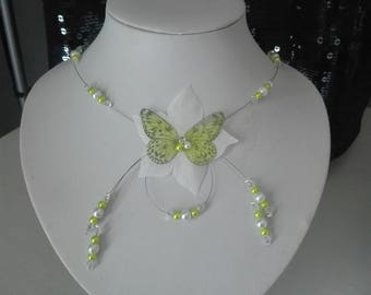 Bridal necklace wedding, butterfly, swarovski crystal beads, lime green silk flower / white ceremony holidays party