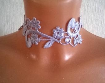 Necklace lilac purple lace, soft floral lace, Bridal crew neck tie, wedding ceremonies parties