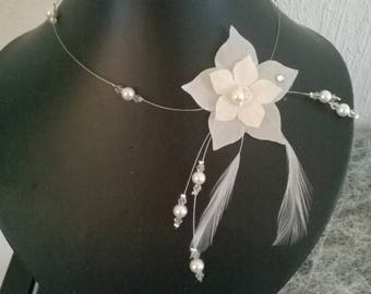 Crystal bridesmaid silk flower bridal bridal necklace ivory transparent /toupies feathers evening, party, ceremony