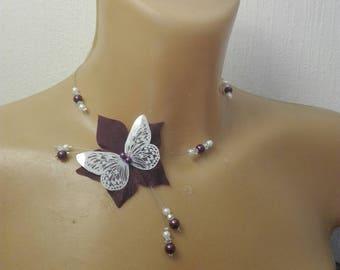 Plum Purple Butterfly silk flower bridal wedding necklace / white beads evening ceremony parties