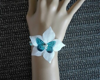 Butterfly silk flower wedding bridal bracelet White Pearl / turquoise blue bicone Czech evening ceremony parties