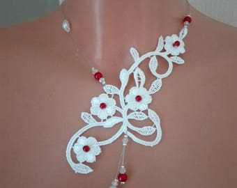 Collar and back down back bridal wedding lace, pearls /rouge/ transparent jewel ceremonies parties