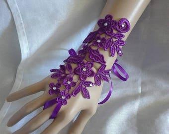 pair of fingerless gloves purple rhinestone lace flower wedding party ceremony