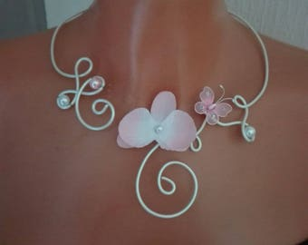 Bridal necklace wedding party bridesmaid transparent glass White Pearl pink butterfly orchid / white holiday ceremony