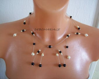 wedding bridal necklace beads, black and ivory (or white) ceremony holidays party