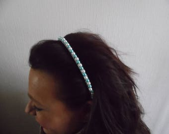 tiara, shake head Crown White Pearl (or ivory) and turquoise blue party wedding evening bridal bridesmaid hair jewelry