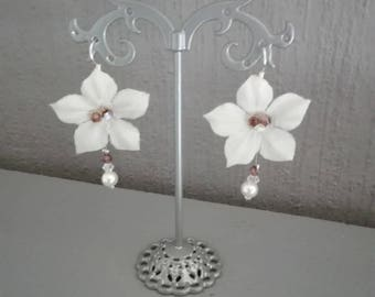 Silk Flower Earrings wedding bridal evening ivory/Brown beads