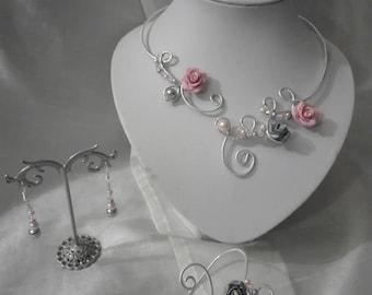 Set 3 pieces transparent glass beads pink/gray flower fimo polymer wedding bridal evening