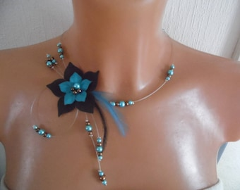Silk flower Crystal bridal bridal necklace turquoise blue / brown chocolate feathers ceremony evening parties