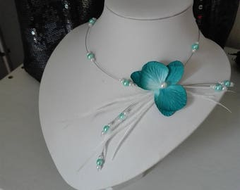orchid flower wedding bridal necklace White Pearl / turquoise feathers ceremony bridesmaid party holidays