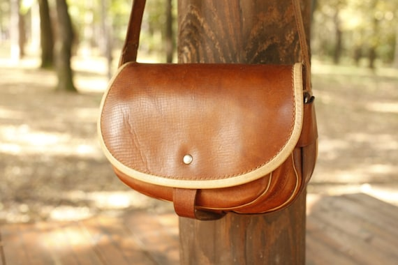 Vintage Leather Crossbody Bag, Brown Leather Messe
