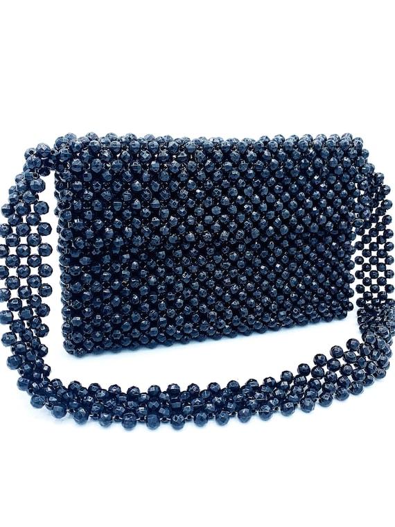 1960's Black Beaded Shoulder Bag