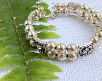 Silver Bead and Swarovski Slider Memory Wire Bracelet (B10)