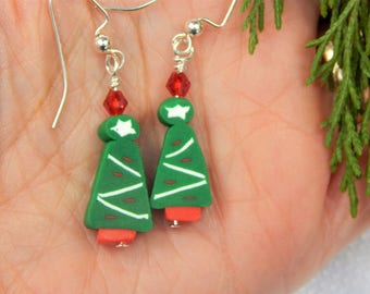 Green Polymer Clay Christmas Tree Earrings (CE16)
