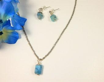 Blue Aquamarine Nugget Necklace Set (N123)