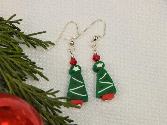 Polymer Clay Christmas Tree.Green Polymer Clay Christmas Tree Earrings Ce16