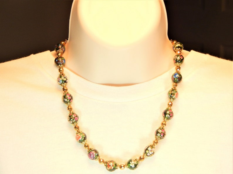 Green and Gold Painted Glass Beaded Necklace Set N203