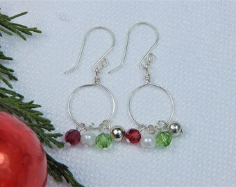 Red Green and Silver Christmas Hoop Earrings (CE8)