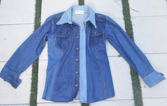 60s Landlubber Denim Shirt Jacket ML Vintage Shir… - image 1