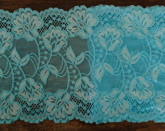 Stretch Lace - Turquoise & White