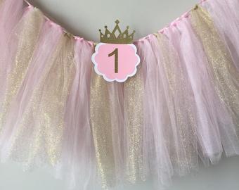 Chaise haute tutu, fête d'anniversaire rose et or, chaise haute bannière, bannière de chaise haute 1er anniversaire, tutu de paillettes premier anniversaire